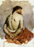 william merritt chase back of a male figure painting