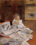 child with prints by william merritt chase painting