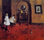 children playing parlor croquet sketch by william merritt chase painting