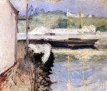 fish sheds and schooner gloucester by william merritt chase painting