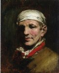 william merritt chase man with bandana painting