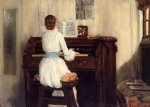 william merritt chase mrs. meigs at the piano organ oil painting