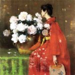 peonies by william merritt chase painting