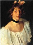 william merritt chase portrait of a lady in a white dress painting