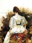 william merritt chase portrait of a woman in a white dress painting 81716