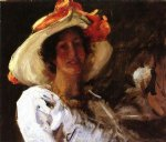 portrait of clara stephens wearing a hat with an orange ribbon by william merritt chase painting
