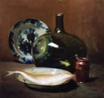 william merritt chase still life with fsh painting