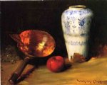 william merritt chase still liife with china vase copper pot an apple and a bunch of grapes painting