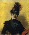 william merritt chase stody of black against yello paintings