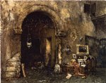 the antiquary shop by william merritt chase painting