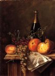william michael harnett still life with fruit champagne bottle and newspaper painting