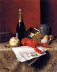 still life paintings - still life with lobster fruit champagne and newspaper by william michael harnett