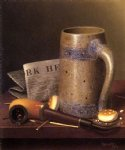still life paintings - still life with mug pipe and new york herald by william michael harnett