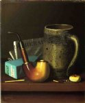 still life paintings - still life with pipe mug and newspaper by william michael harnett