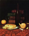 william michael harnett still life with raisin cake fruit and wine paintings: 22502