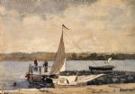 a sloop at a wharf gloucester by winslow homer paintings-22230