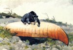 winslow homer bear and canoe painting