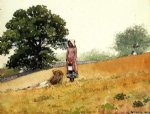 winslow homer boy and girl on a hillside oil painting