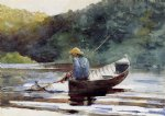 boy fishing by winslow homer painting