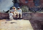 boys and kitten by winslow homer painting