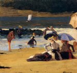 by the shore by winslow homer painting