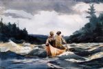 canoe in the rapids by winslow homer painting