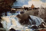 casting in the falls by winslow homer painting