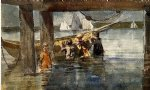 childred playing under a gloucester wharf by winslow homer painting