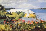 flower garden and bungalow bermuda by winslow homer painting
