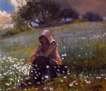 girl and daisies by winslow homer painting