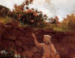 girl in a garden by winslow homer painting
