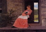 winslow homer girl reading on a stone porch painting