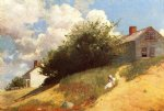 winslow homer houses on a hill oil painting