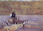 winslow homer man in a punt fishing painting