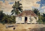 native huts nassau by winslow homer painting