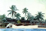 negro cabins and palms by winslow homer painting