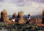 the pumpkin patch by winslow homer painting