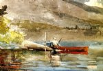 the red canoe by winslow homer painting