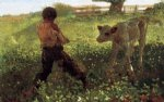 the unruly calf by winslow homer painting
