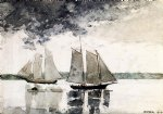 two schooners by winslow homer painting