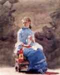 woman sewing by winslow homer painting